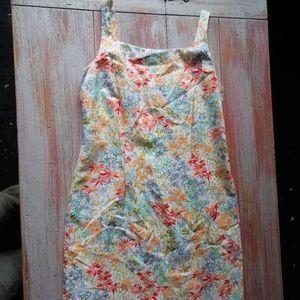 Retro Textured Watercolor Floral Sheath Dress, 8